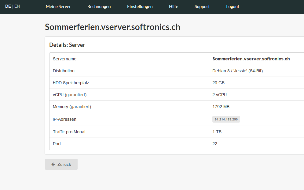 Eigenschaften Virtual Server