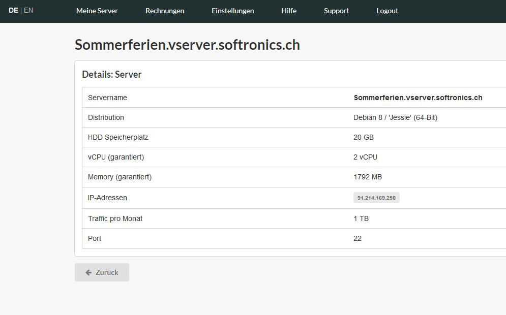 Eigenschaften Virtual Server